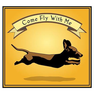 Flying Wiener Dog Poster