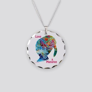 Manatees of Many Colors Necklace Circle Charm