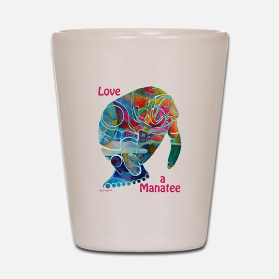 Manatees of Many Colors Shot Glass