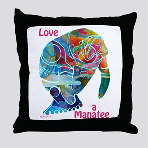 Manatees in Many Colors Throw Pillow