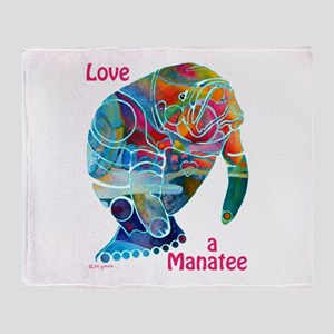 Manatees in Many Colors Throw Blanket