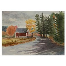 Red Barn in Autumn Poster
