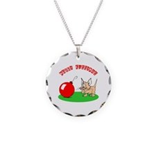 Merry Kittymas Necklace Circle Charm
