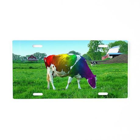 Rainbow Cow Aluminum License Plate