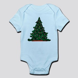 Pink Ribbon Christmas Tree Infant Bodysuit