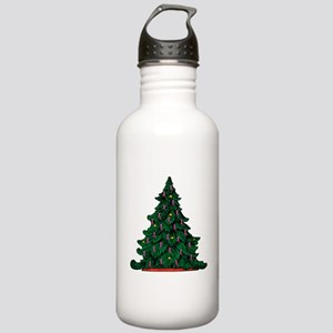 Pink Ribbon Christmas Tree Stainless Water Bottle