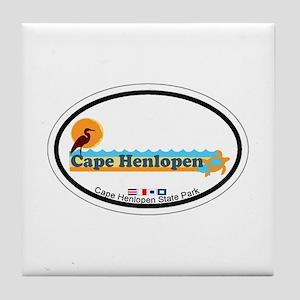 Cape Henlopen DE - Oval Design Tile Coaster