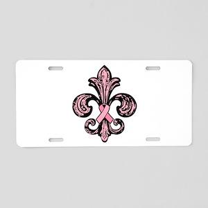 Pink Fleur Ribbon Aluminum License Plate