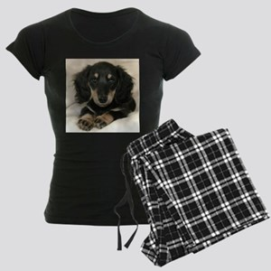 Long Haired Puppy Women's Dark Pajamas