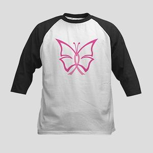 Pink Ribbon Butterfly Kids Baseball Jersey