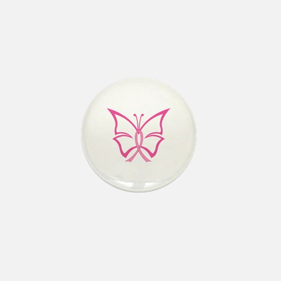 Pink Ribbon Butterfly Mini Button