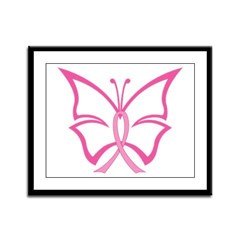 Pink Ribbon Butterfly Framed Panel Print