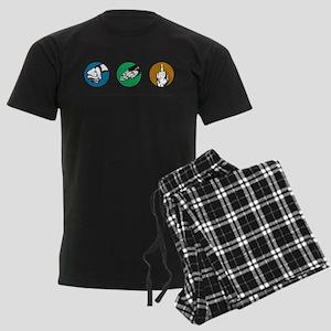 Rock Paper Finger Logo Men's Dark Pajamas
