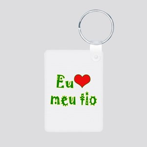 I Love Uncle (Port/Brasil) Aluminum Photo Keychain