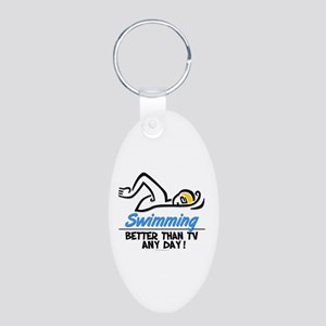 Swimming Aluminum Oval Keychain