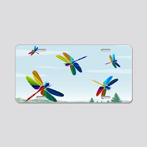 Rainbow Dragonflies Aluminum License Plate