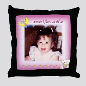 Girl on Moon Personalized Throw Pillow - Custom