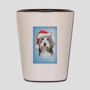 Bearded Collie Christmas Shot Glass