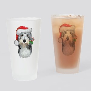 Bearded Collie Christmas Drinking Glass