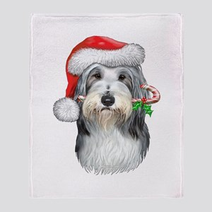 Bearded Collie Christmas Throw Blanket
