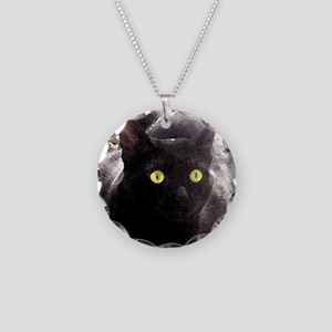 Black Cats Watercolor Necklace Circle Charm