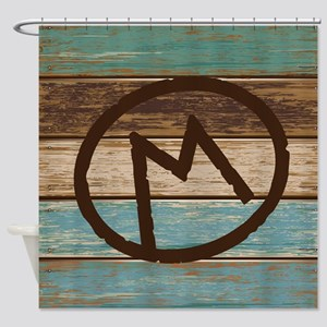 Branding Iron Letter M Wood Shower Curtain