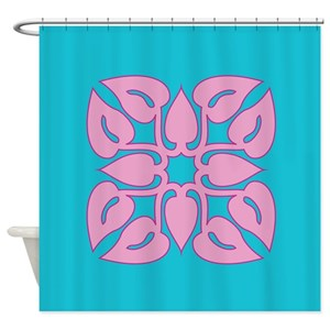 Hawaiian Quilt Pattern Tablet Shower Curtains