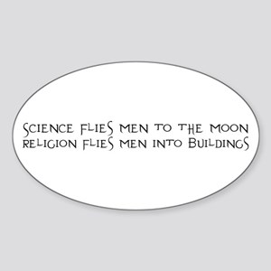 Science Flies Men to the Moon Sticker (Oval)