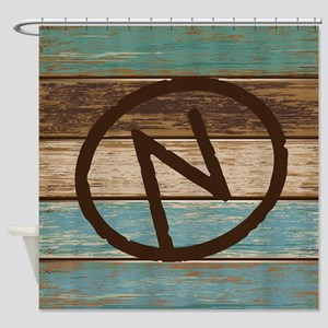 Branding Iron Letter N Wood Shower Curtain