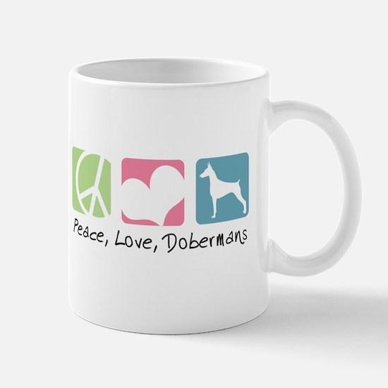Peace, Love, Dobermans Mug
