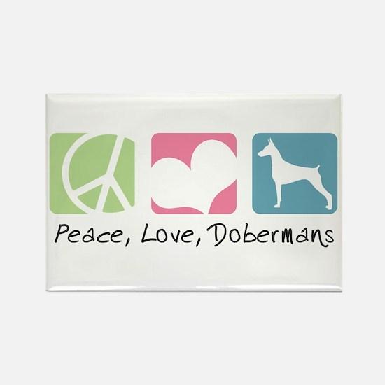 Peace, Love, Dobermans Rectangle Magnet