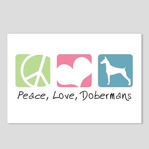 Peace, Love, Dobermans Postcards (Package of 8)