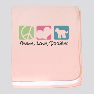 Peace, Love, Doodles baby blanket