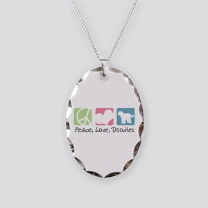 Peace, Love, Doodles Necklace Oval Charm