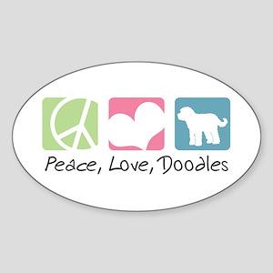 Peace, Love, Doodles Sticker (Oval)
