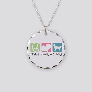 Peace, Love, Goldens Necklace Circle Charm