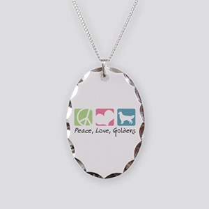 Peace, Love, Goldens Necklace Oval Charm