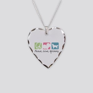 Peace, Love, Goldens Necklace Heart Charm