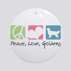 Peace, Love, Goldens Ornament (Round)