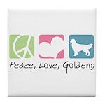 Peace, Love, Goldens Tile Coaster