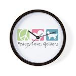 Peace, Love, Goldens Wall Clock