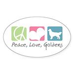 Peace, Love, Goldens Sticker (Oval 50 pk)