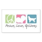 Peace, Love, Goldens Sticker (Rectangle 50 pk)