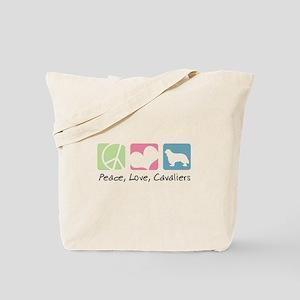 Peace, Love, Cavaliers Tote Bag