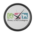 Peace, Love, Cockapoos Large Wall Clock