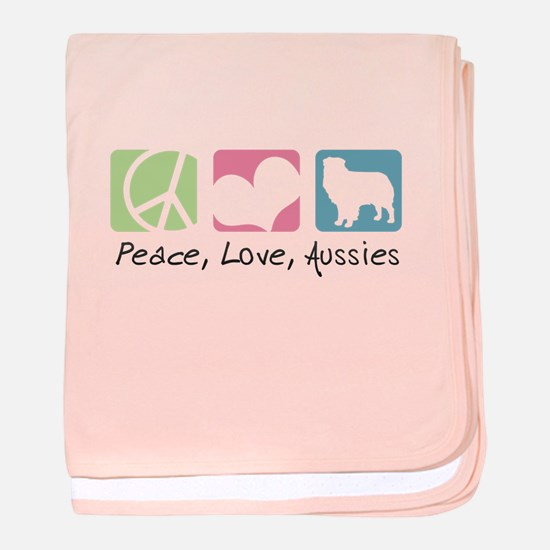 Peace, Love, Aussies baby blanket