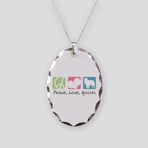 Peace, Love, Aussies Necklace Oval Charm