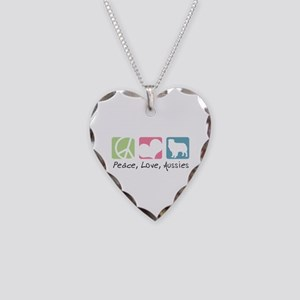 Peace, Love, Aussies Necklace Heart Charm