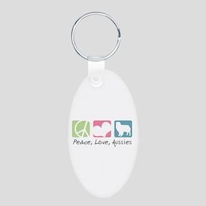Peace, Love, Aussies Aluminum Oval Keychain