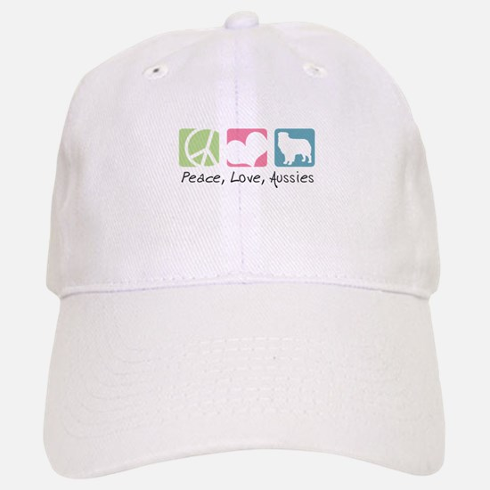 Peace, Love, Aussies Baseball Baseball Cap
